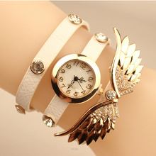 Hot Sale Women Watch 2015 New Fashion Brand Quartz Watch Rhinestone Leather Angel Wing Dress Watch Women Casual Watch Wristwatch