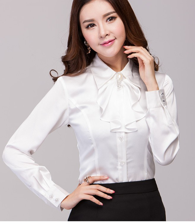 Womens White Satin Blouse 83