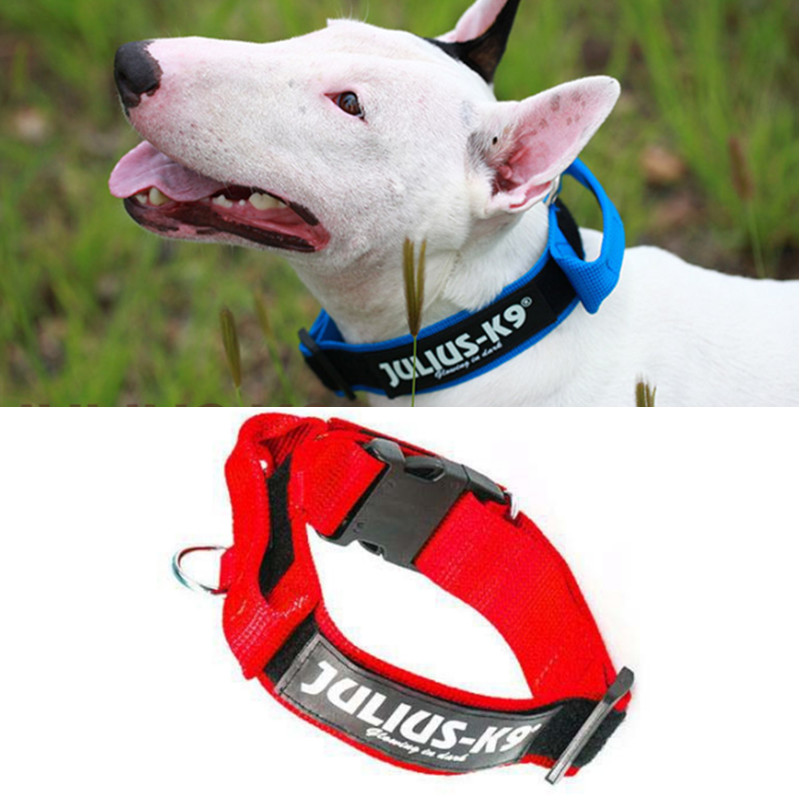 Free shipping,high-quality K9 nylon reflective dog collar red black blue color 3 size S M L(China (Mainland))