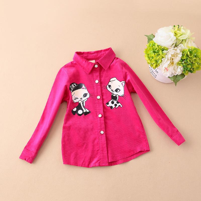 Girls long sleeved shirt 2016 spring in children's wear long sleeved shirt corduroy child 157(China (Mainland))