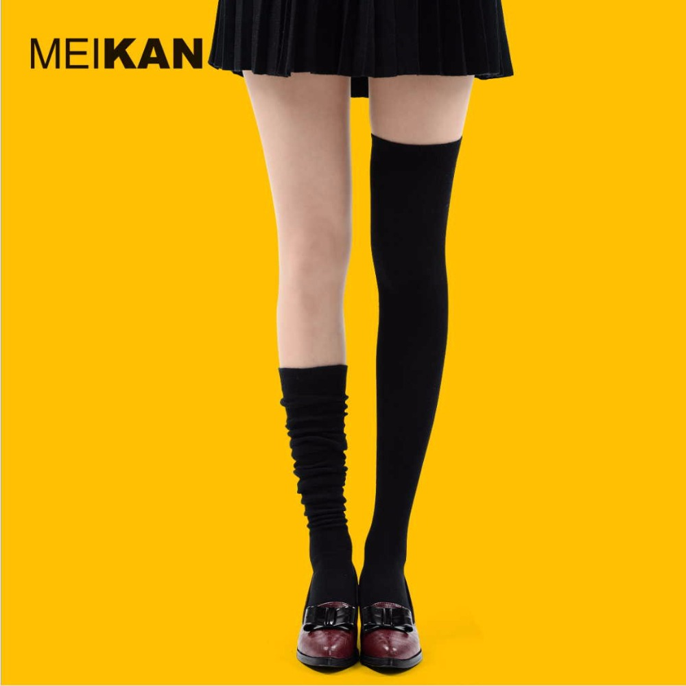High Quality Combed Cotton over the knee stockings Women's Slim Solid korean style thigh high stocking 35-38 comfortable medias(China (Mainland))