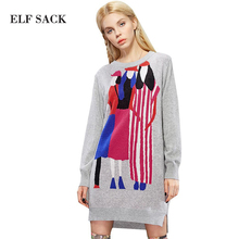 ELF SACK Women Autumn Knitted Round Collar Long Sleeve One Piece Dress 2015 New Fashion Dresses Free Shpping(China (Mainland))