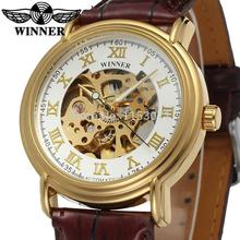 WRG8075M3G3 Winner automatic men gold color skeleton watch with brown leather strap with gift box Free shipping Forsining watch