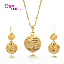 SeePretty Hot Selling 24K Gold Jewelry Sets Necklace/Earrings African Round Beads Jewelry Gold Chain for Women/Pendant Chain 676(China (Mainland))