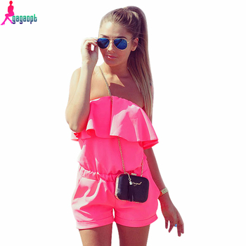 Gagaopt 2016 Women Rompers and Jumpsuit Sexy Strapless Fashion Solid Candy Color Summer Shorts Free Shipping