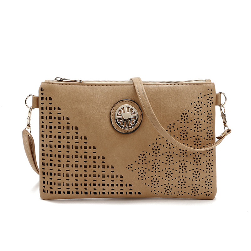 2016 Women Hollow Out Envelope Messenger Bag Fashion Leather Lady Shoulder Bag Clutch Small Casual Metal Women Cross Body Bag(China (Mainland))