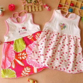 vestidos de bebes casuales 2016 Summer Cute Baby Girl Dress Dot Striped Flower Print Slip Dress infant girl dresses 0-24Months