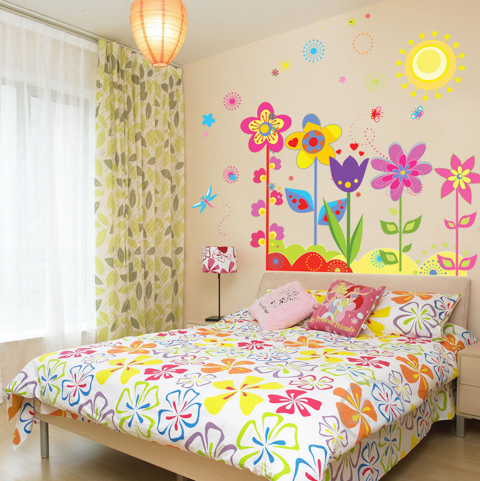 Flowers wall sticker child role of children 39 s diy adhesive for Diy wall photo mural
