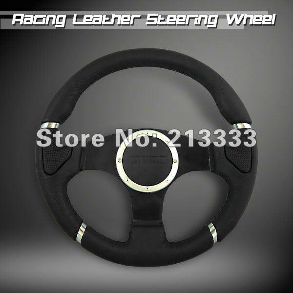 "Brand New Millenium 340mm / 13.5"" Leather Sports Car Steering Wheel 13056black(China (Mainland))"