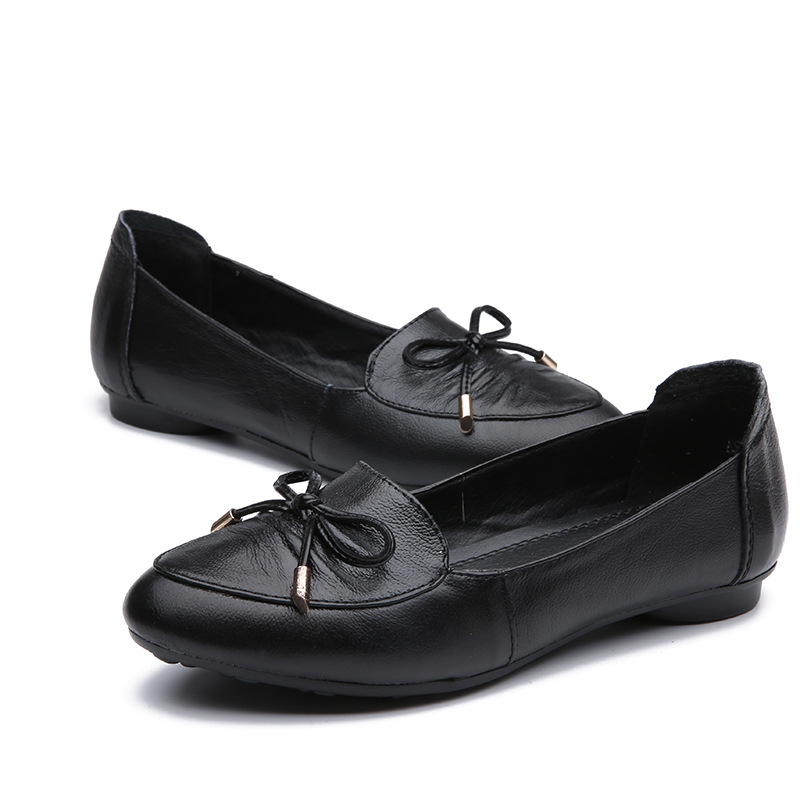 Flat With Bow Full Grain Leather Shoes Genuine Leather Soft Bottom Shoes Casual Non-Slip Mother Shoes Women 2016 Summer Size 41