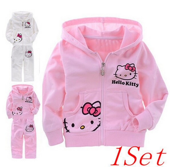 New 2016 Fashion Hello Kitty Girls Clothing Sets Pink White Kids Sports Suit Children's Sportswear Hoody + Pants Kids Tracksuit(China (Mainland))