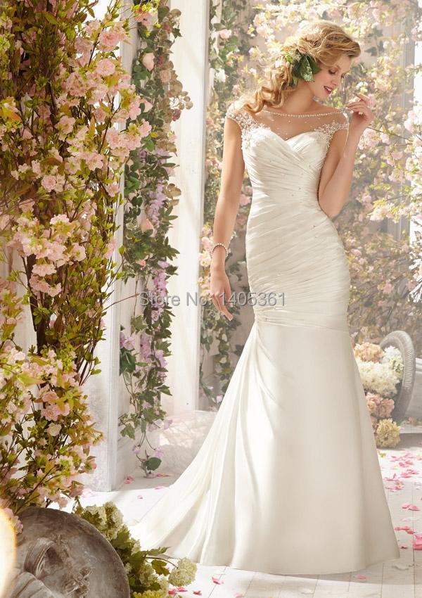 shipping romantic bridal gown appliques trumpet taffeta wedding dress