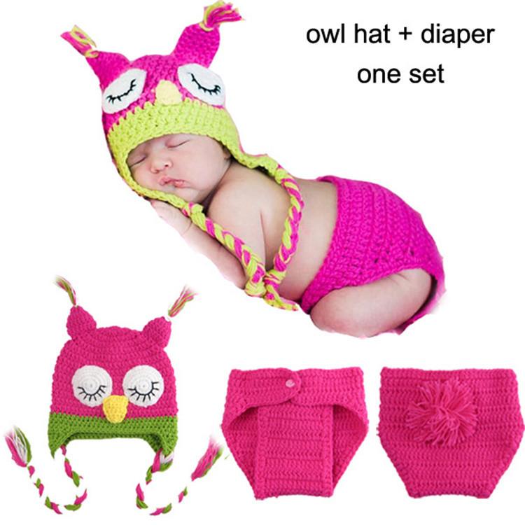 [해외]?/ Crochet Baby Owl Hats and Diaper Sets Infant Bab..