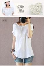new fashion summer style cotton linen plus size casual blusas femininas 2015 t shirt women t