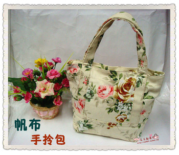 Small canvas fabric handbags tote bag casual handbag tote women's  MOQ>=10USD