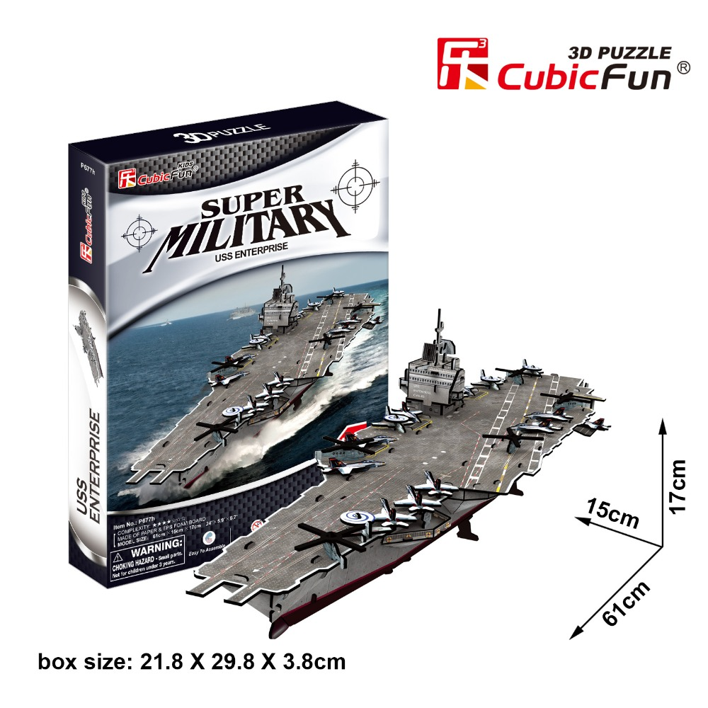 Cubicfun 3D paper building model DIY puzzle toy gift assemble game super military USS enterprise USA Aircraft carrier ship boat(China (Mainland))