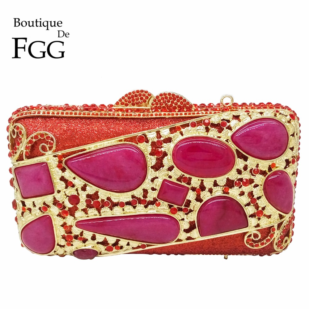 Indian National Style Red Ruby Stones Hollow Out Women Metal Mini Box Crystal Evening Bags Wedding Party Handbags Clutch Purses(China (Mainland))
