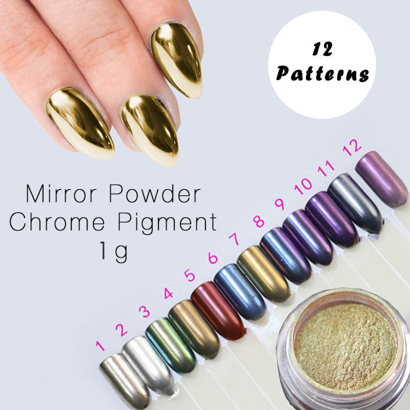 1g Mirror Powder Gold Pigment Ultrafine Powder Dust Chrome Pigment Nail Glitters Nail Sequins Nail Art Decorations(China (Mainland))
