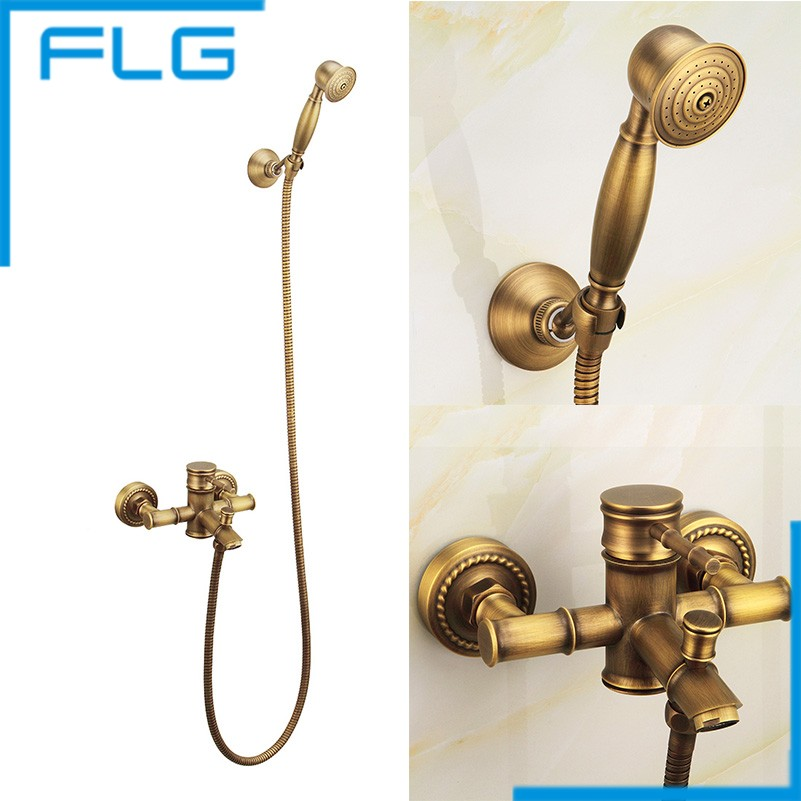 Free shipping Bathroom Bath Wall Mounted Hand Held Antique Brass Shower Head Kit Shower Faucet Sets FLG40004A(China (Mainland))