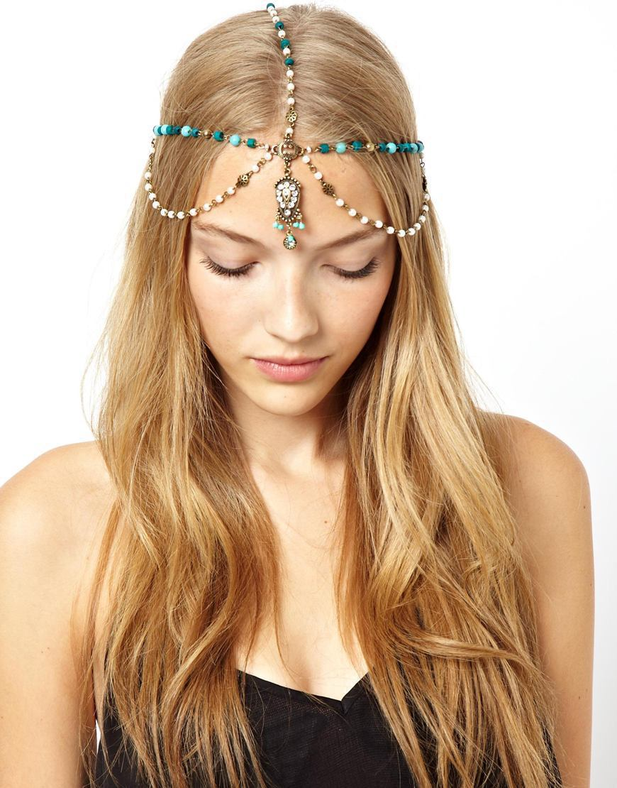 2015 New BRAND Vintage Crown Headband Forehead Jewelry Vintage Head Chain with Turquoise Pearl Gem Hair Ribbon Hair Accessories(China (Mainland))