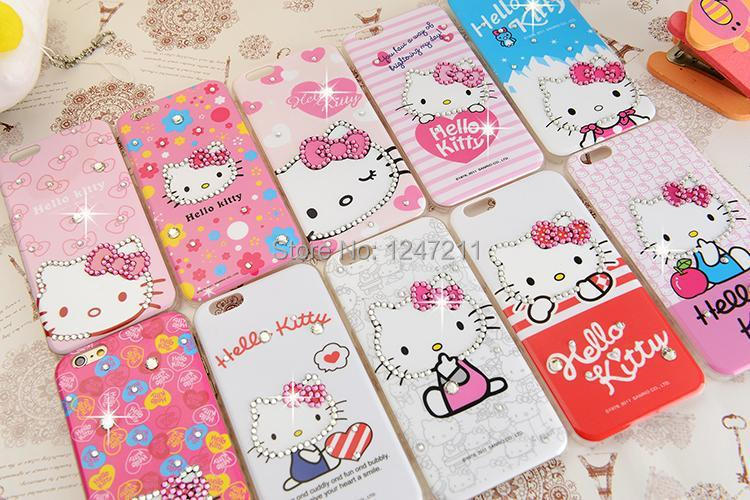 2015 Hot Sale Hello Kitty Rhinestone Crystal Bling Cell Phone Case Diamond hello kitty for iphone 6 4.7' cases ,free shipping(China (Mainland))