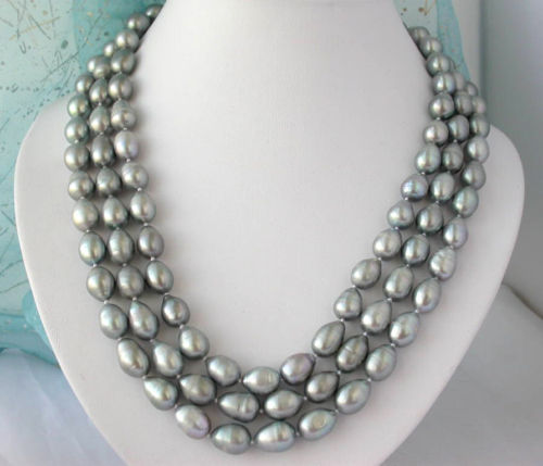 shipping Z2372 beautiful 3row 13mm nature baroque gray freshwater pearl necklace<br><br>Aliexpress