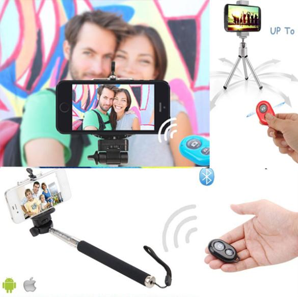 Selfie Rotary Extendable Handheld Camera Tripod Mobile Phone Monopod+ Wireless Bluetooth Remote Control For Smarthone 3 in(China (Mainland))