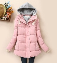 Winter 2016 big yards Slim hooded down jacket for woman slim long thick cotton wadded parka female warm padded overcoats