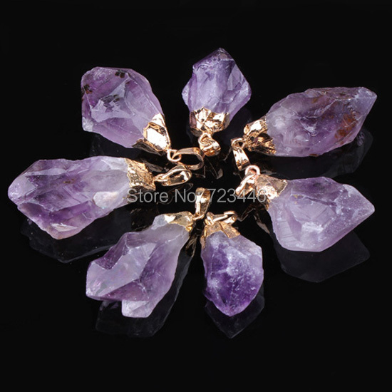 Amethyst Tooth Different Natural Stone Energy Gold Silver Plated Head Reiki Pendants Charms Amulet Fashion Jewelry 10pcs(China (Mainland))