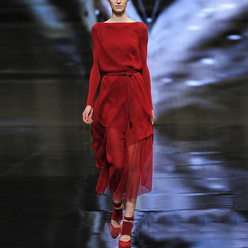 2015 Women big brand European and American runway fashion suede dress irregular dress women sexy elegant long event dress(China (Mainland))