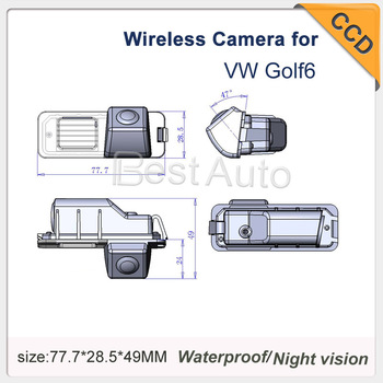 Wireless car reverse Camera for Volkswagen Golf 6 HD CCD car back up rear view camera waterproof security night vision