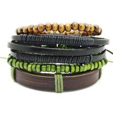 1 zestaw 3/4 sztuk skórzana bransoletka męska wielowarstwowa bransoletka z koralików kobiety Punk Casual męska biżuteria akcesoria do bransoletki Homens Pulseira(China)