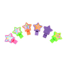 Children's Educational Toys Colorful Small Five-pointed Star Model Plastic Whistle Toy for Party Favors 7*5*1.2CM 6PCS/Set(China (Mainland))