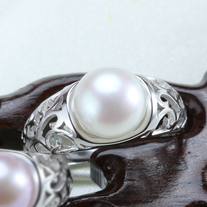 Best Price Retro Jewelry Hollow Pearl Ring 100% Natural Freshwater Pearl Trinkets Gift for Mother 9-10mm Pearl bijoux femme(China (Mainland))