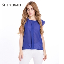 2015 New Fashion Women Chiffon Sleeveless Ruffles Shirt Blouse Tops Solid Color Blouses OL Style Round Collar 4 Colors S M L XL(China (Mainland))