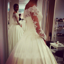 Women Dress Wedding Long Off The Shoulder Satin Lace Ball Gown Wedding Dresses With Sleeves w6141(China (Mainland))