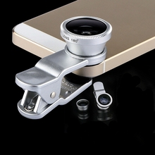 Fisheye macro wide angle 3 in 1 universal clip phone glass + metal camera lenses
