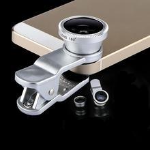 Fisheye macro wide angle 3 in 1 universal clip phone glass + metal camera lenses