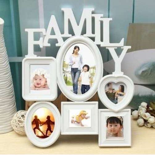 Free Shipping !!! Family Picture Frames Photo Frame Wall Hanging Picture Holder Display Home Decor White Plastic(China (Mainland))