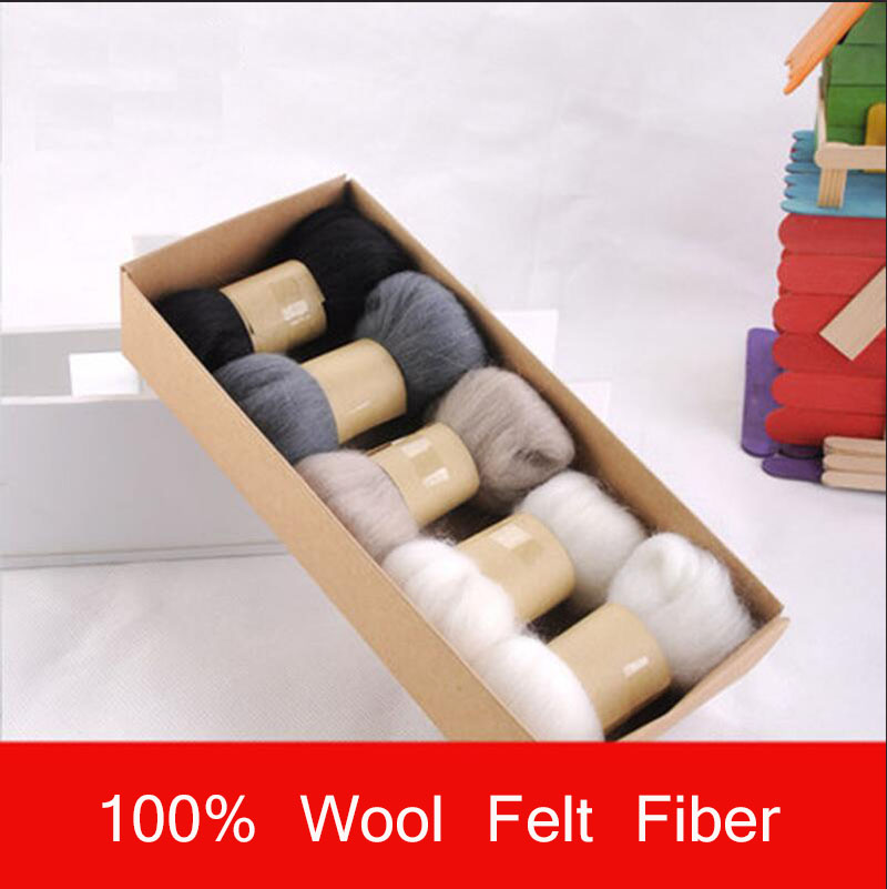 New Black Series Spinning DIY Supply 5pcs/lot 66s High Quality Fiber 100% Wool For Felting ouate de remplissage Fabric(China (Mainland))