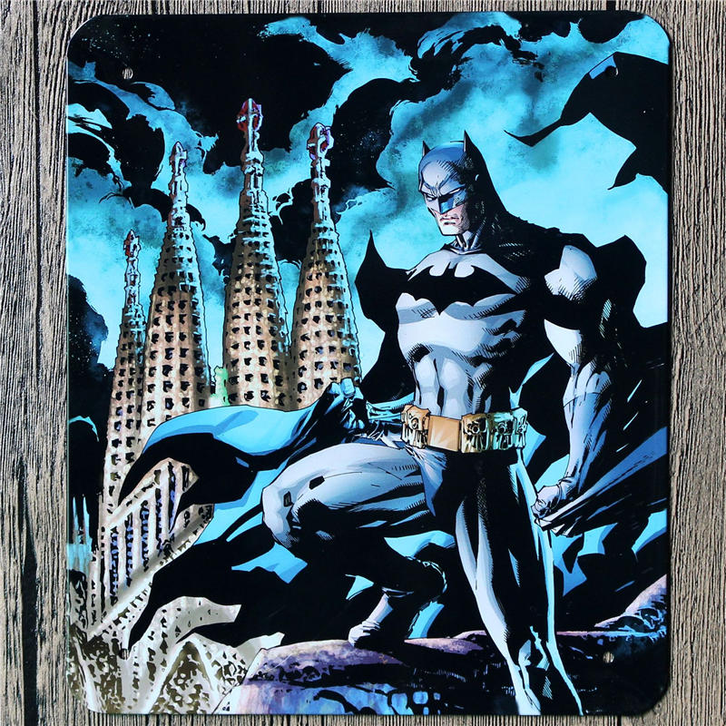 18*21 CM Batman Metal Wall Art Movie Tin Signs Vintage Style Posters Plaque Wall Decorative Plates(China (Mainland))