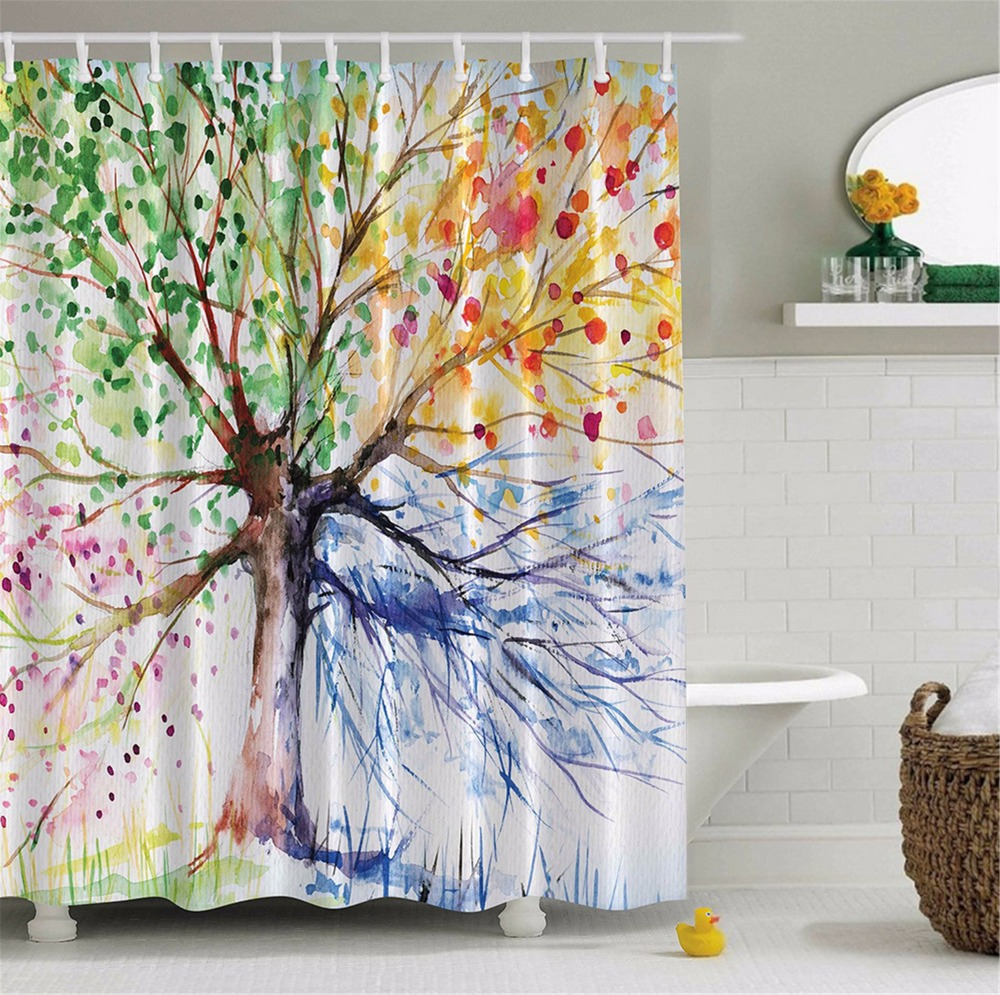 Birch tree shower curtains - Lfh Colorful Tree Four Seasons Shower Curtain Bathroom Decor With Hooks Waterproof Polyester Mildew Resistant Shower Curtain
