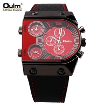 OULM Super Cool Oulm Brand Men Quartz Watches Double Time Show Snake Band Casual Men Sports Watches Male Military Clock