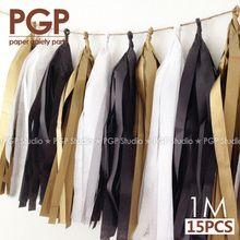 [PGP] Black White & Gold Tissue Paper Tassel Garland, 100cm, for Father's Day Hen Engagement Welcome Stag Party Decorations(China (Mainland))