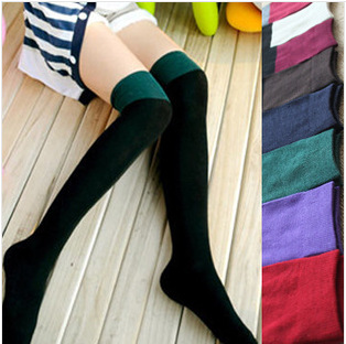 10Pairs/Lot Japanese manufacturers of solid color mosaic knitting socks cotton socks female long tube piles of cotton socks(China (Mainland))