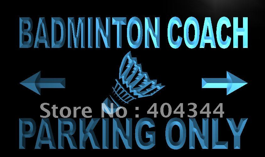LN156- Badminton Coach Parking Only LED Neon Light Sign hang sign home decor shop crafts(China (Mainland))