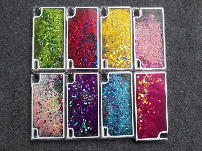 Glitter Star Flowing Water Liquid Case For Huawei P7 / Huawei Ascend P7 Transparent Clear Golden Covers Hard Plastic Phone Cases(China (Mainland))