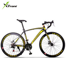 Buy New X-front brand 21/27 speed racing bike 700C*52cm steel frame bicycle alloy pedal cycling disc brake bicicleta road bike for $387.20 in AliExpress store