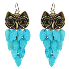 Fashion New Vintage Natural Shell Owl Charm Long Earrings For Women Hot Sales Jewelry Factory Wholesale(China (Mainland))