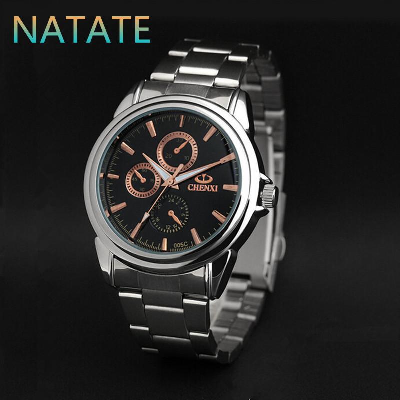 NATATE Men Rose Gold Business Brand Fashion Brand CHENXI Watch Luxury Stainless Steel Quartz Wrist Watch Waterproof Watch 1240(China (Mainland))
